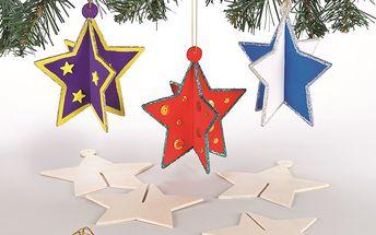 Dřevěné dekorace 3D hvězdy (6 ks)