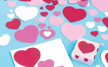 Sada 150 různobarevných samolepících pěnovcýh srdcí