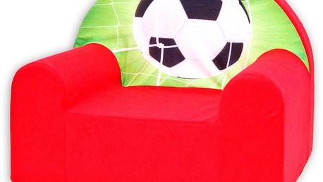 Praktické dětské křesílko Fotbal v červené