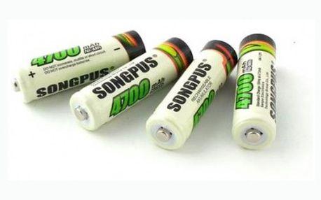 Set čtyř nabíjecích tužkových baterií AA. Každá batrie o kapacitě 4700 mAh. Dobíjejte baterie a šetřete tak svou kapsu a také životní prostředí.