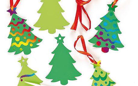 Dekorace vánoční stromky barvené škrabáním (8 ks)