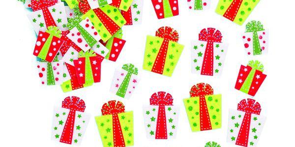 Plstěné samolepky – vánoční dárky (64 ks)