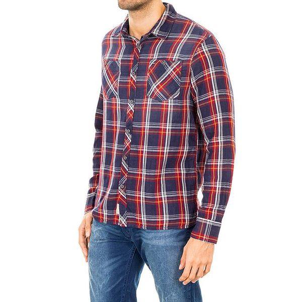 Pánská tmavě modrá kostkovaná košile s barevnými proužky Tommy Hilfiger