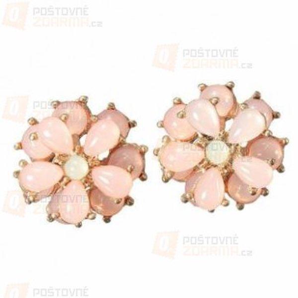 Růžové náušnice ve tvaru kytičky a poštovné ZDARMA! - 9999916359