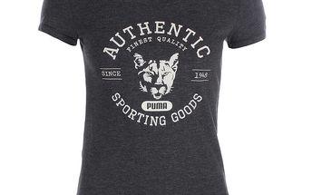 Dámské šedé tričko s bílým potiskem Puma
