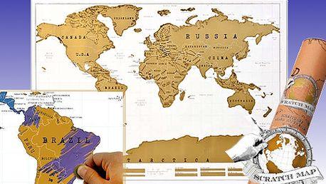 Stírací mapa světa! Geniální dárek pro každého cestovatele