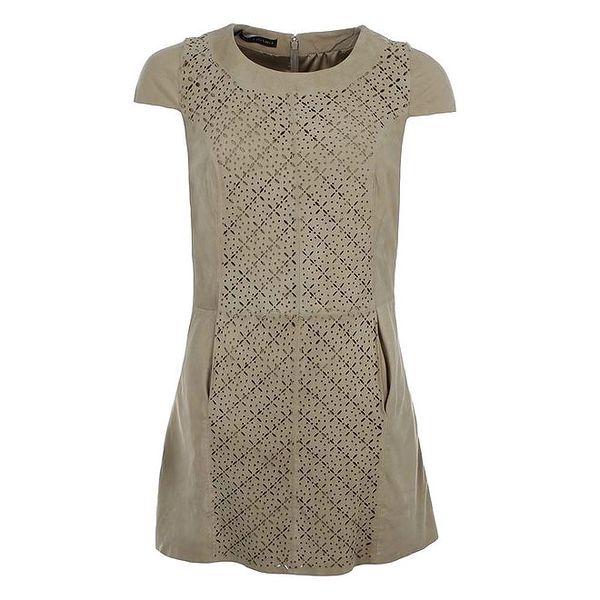 Dámské béžové šaty s dekorativním perforováním MOCUISHLE