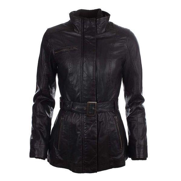 Dámský tmavě hnědý kožený kabátek Company&Co