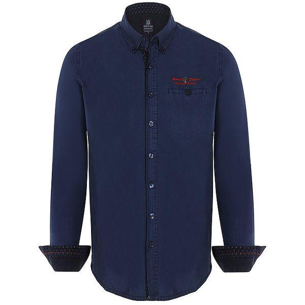 Pánská tmavě modrá košile s červeným nápisem Giorgio di Mare