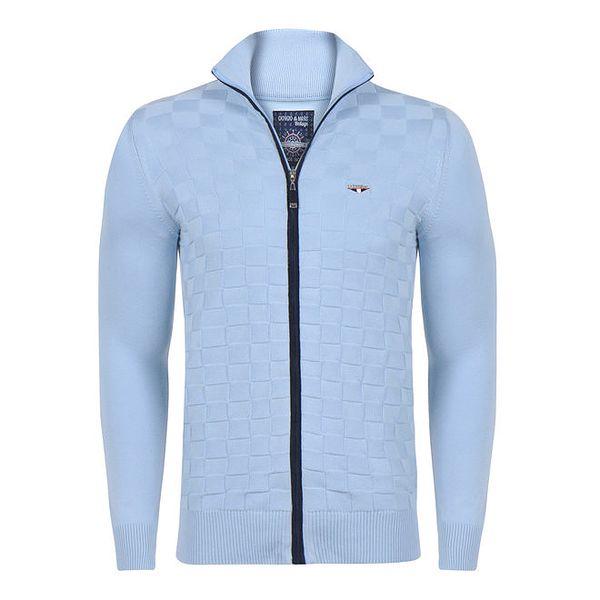 Pánský bledě modrý svetr na zip Giorgio di Mare