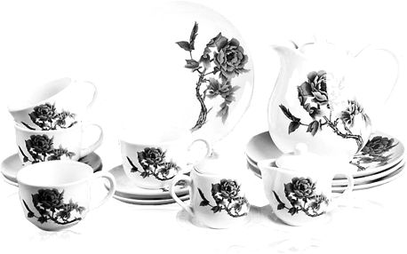 Porcelánová čajová souprava zdobená černou růží