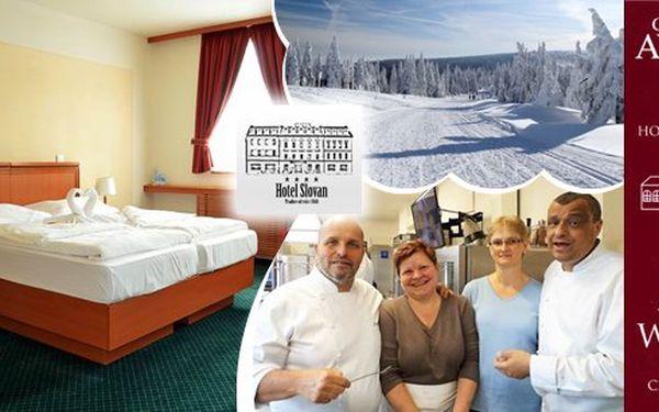 Pobyt pro dva v srdci Jeseníků v luxusním 4* hotelu Slovan - absolutní vítěz prestižní ceny Hotel roku 2014 v kategorii 4*. Nadstandardně vybavené pokoje, bufetové snídaně a především gastronomický zážitek - 5chodové degustační menu pro oba!
