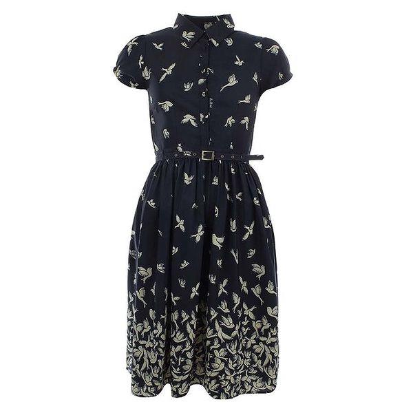 Dámské tmavě modré šaty s ptáčky a páskem Uttam Boutique