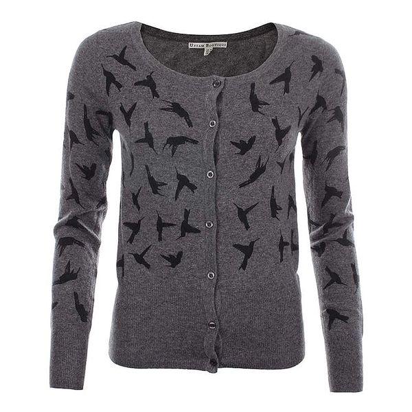 Dámský tmavě šedý svetřík s ptáčky Uttam Boutique