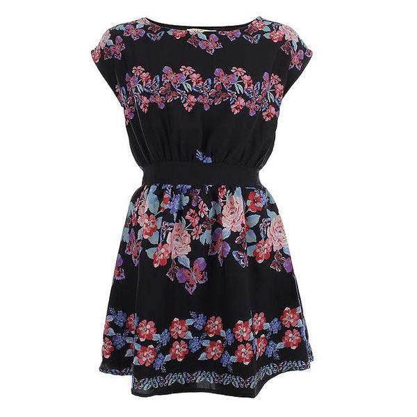 Dámské černé šaty s barevnými květy Uttam Boutique