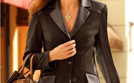 Krásné dámské sako s detaily z kvalitní koženky