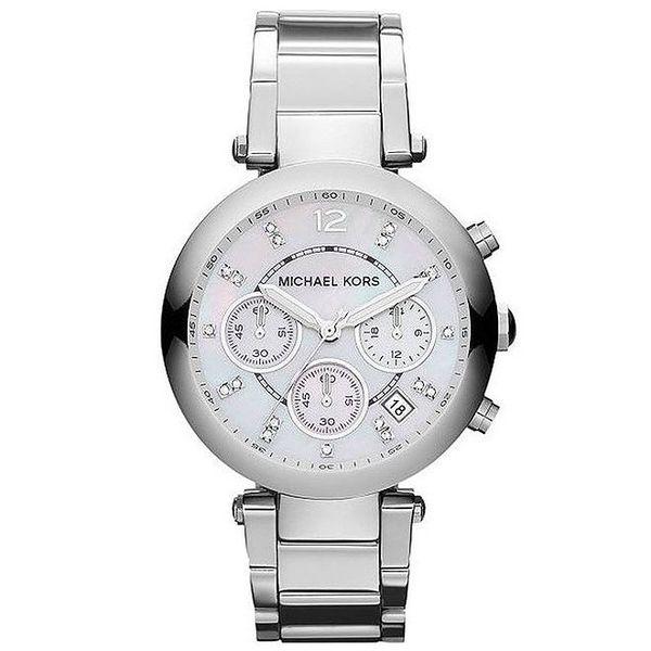 Dámské ocelové hodinky s bílými zirkony Michael Kors - stříbrná barva