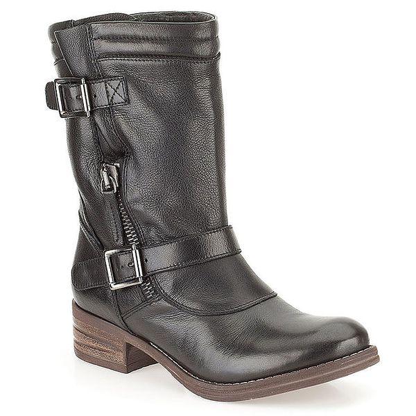 Dámské černé kožené boty s přezkami Clarks