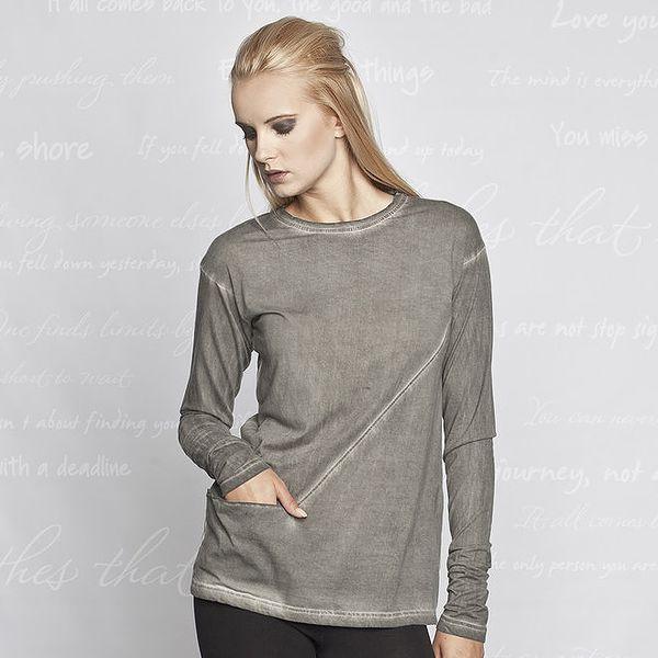 Dámské šedé triko s kapsičkou Paphia