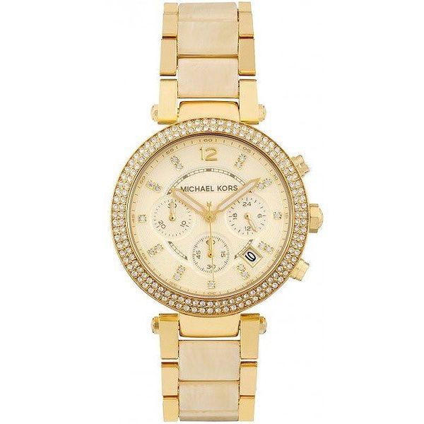 Dámské pozlacené hodinky s malými kamínky Michael Kors