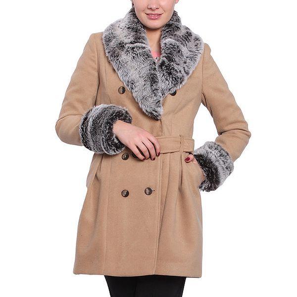 Dámský pískově hnědý kabát s kožíškem Vera Ravenna