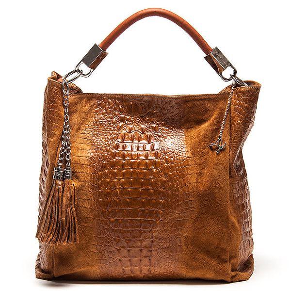 Dámská koňakově hnědá kožená kabelka s motivem krokodýlí kůže Luisa Vannini