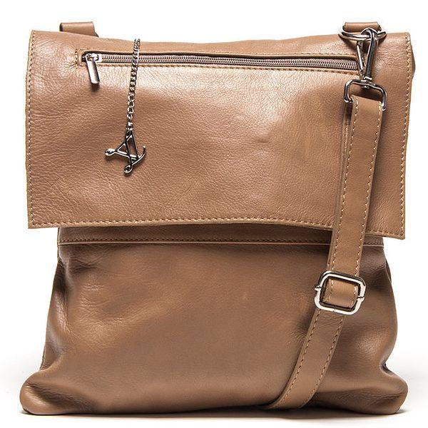 Dámská hnědá kožená kabelka s klopou Luisa Vannini