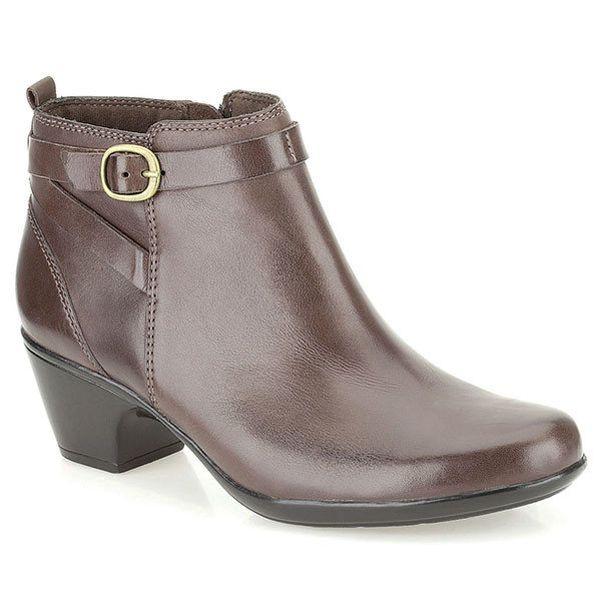 Dámské hnědé kotníkové boty na malém podpatku Clarks