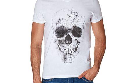 Pánské bílé tričko s lebkou Paul Stragas