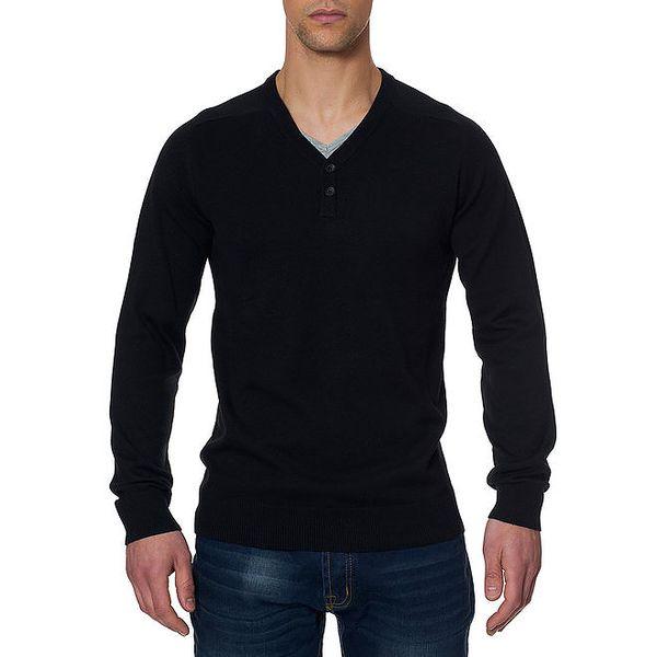 Pánský černý svetr s loketními nášivkami Paul Stragas