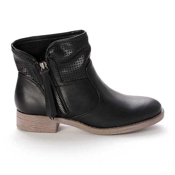 Dámské černé kotníkové boty s perforováním Destroy