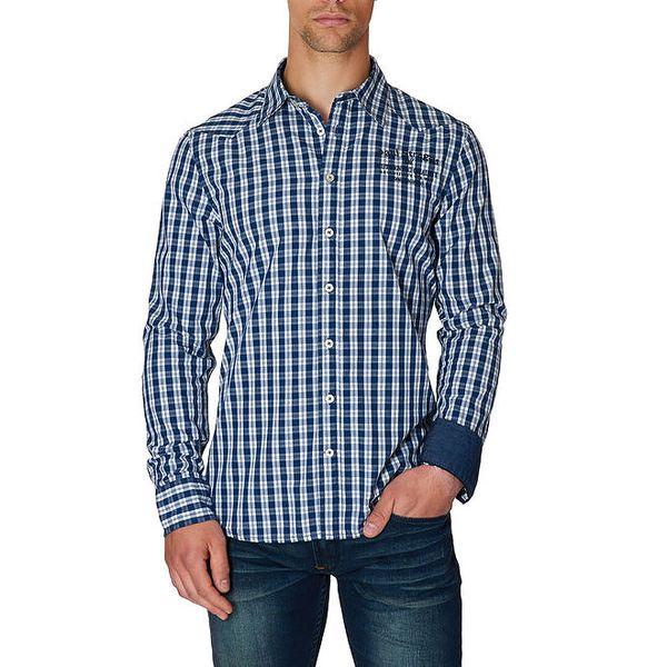 Pánská modro-bílá košile s kostkovaným vzorem Paul Stragas