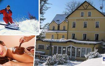 Pobyt pro 2 osoby v hotelu Arnika v nádherném prostředí Krkonoš na3, 4 nebo 8 dní s bohatou polopenzí. Čokoládové fondy s ovocem, vyhřívaný bazén s protiproudem, sauna, wellness procedury ... Skvělé lyžování, upravené běžecké stopy i sáňkování!