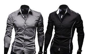 Stylová pánská košile Slim Fit s dlouhým rukávem, vel. M-XL