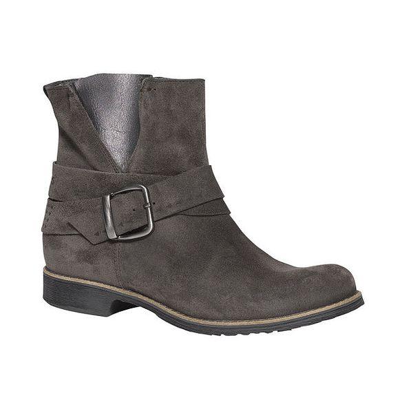 Dámské šedé kotníkové boty s přezkou TBS