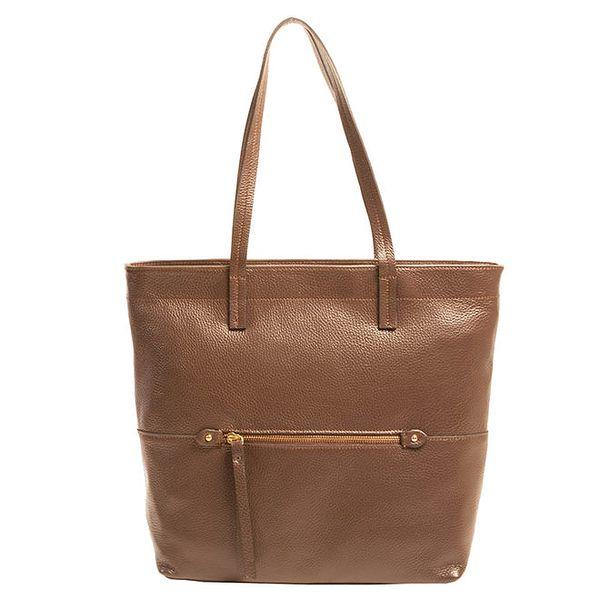 Dámská hnědá kožená kabelka se zipem Joana and Paola