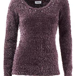 Krásný dámský svetr s lesklými flitry ve výstřihu