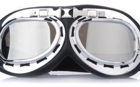 Motorkářské brýle chromový vzhled