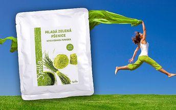200gramové balení zelené mladé pšenice v prášku