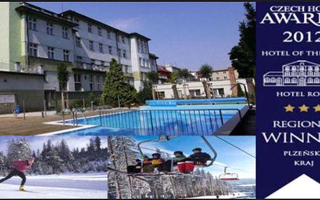 KLATOVY: Oceněný Wellness Hotel Central*** - 3dny s polopenzí pro 2 + vnitřní bazén a sauny zdarma