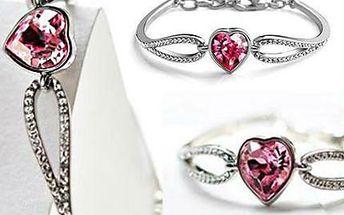 Náramek s krystalem ve tvaru srdce
