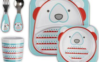 ZOO Zimní dárkový jídelní set - Lední medvídek (talířek, mistička, příbor, pohárek)