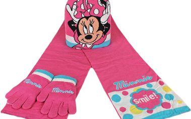 Dívčí zimní set růžová Minnie - rukavice, šála, čepice
