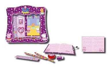Roztomilý set s bločkem - deník, dvě tužky, pravítko, ořezávátko a guma