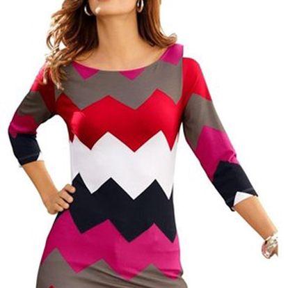 Pestrobarevné dlouhé dámské tričko