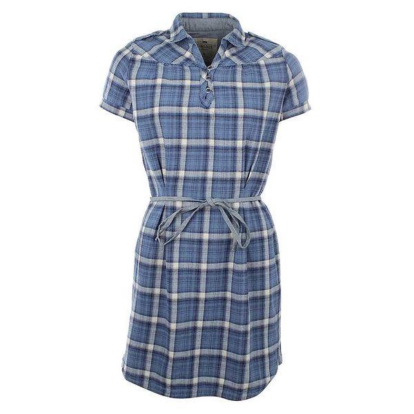 Dámské modré šaty s kostkovaným vzorem Timeout