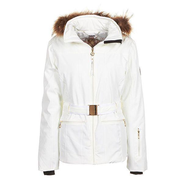 Dámská bílá bunda s páskem a kožíškem E2ko