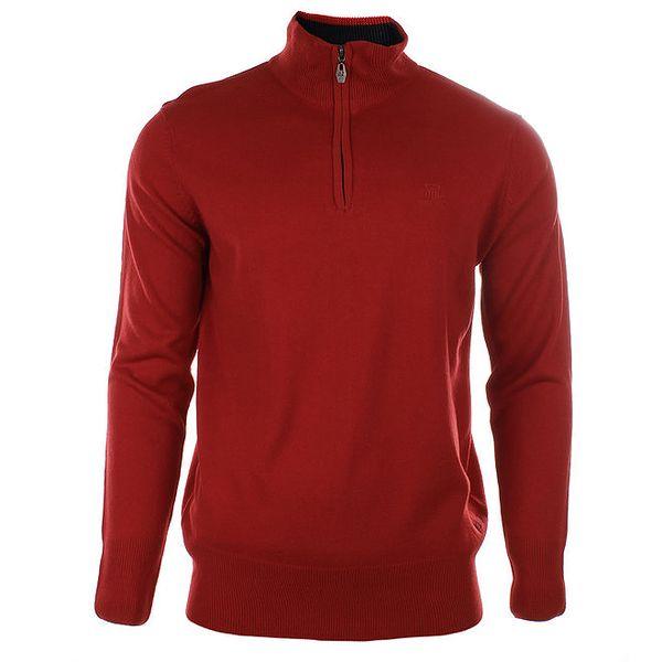 Pánský červený svetr se stojáčkem na zip Timeout