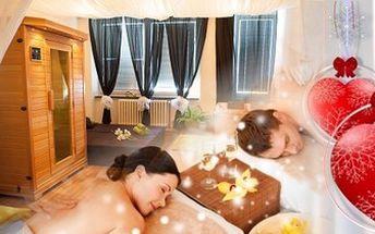 Valentýnský relaxační balíček pro DVA. Společných 120 minut hýčkajících procedur pro zdraví i krásu.