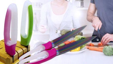 Sada 2 nožů s titanovým povrchem! Ergonomická silikonová rukojeť a kvalitní provedení!